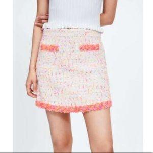 ZARA Mini Skirt with Frayed Trim